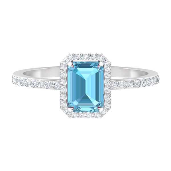 Diamond Halo Engagement Ring with 5X7 MM Claw Set Aquamarine Solitaire