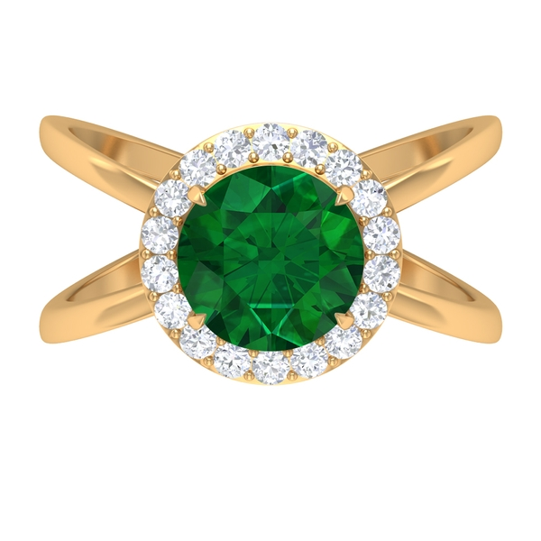 2.25 CT Solitaire Emerald Engagement Ring with Moissanite Halo
