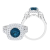 Double Halo Engagement Ring with 2.50 CT London Blue Topaz Solitaire and Moissanite Accent