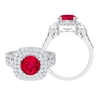 Double Halo Engagement Ring with 2.75 CT Ruby Solitaire and Moissanite Accent