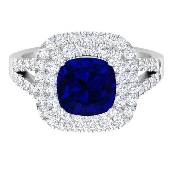 3 CT Cushion Cut Created Blue Sapphire Engagement Ring with Double Halo Moissanite