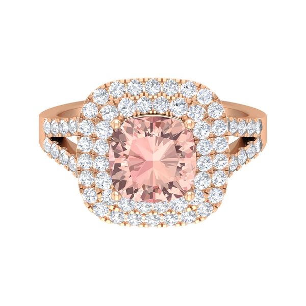 3 CT Split Shank Engagement Ring with Created Morganite and Moissanite Accents