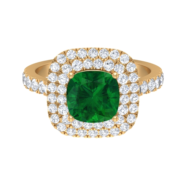 3.25 CT Cushion Cut Created Emerald Engagement Ring with Moissanite Halo and Side Stones