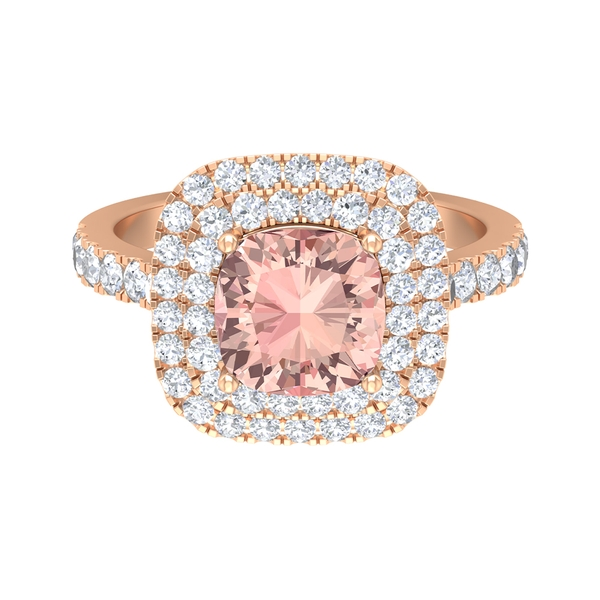 3 CT Cushion Cut Created Morganite Solitaire Engagement Ring with Double Halo Moissanite