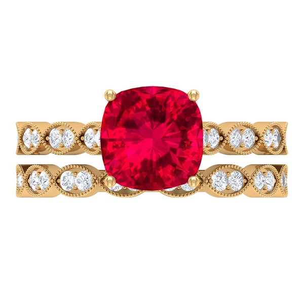 2.50 CT Cushion Cut Created Ruby Solitaire Bridal Ring Set with Moissanite Band