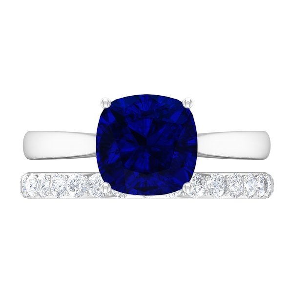 3 CT Created Blue Sapphire Solitaire Engagement Ring Set with Moissanite Band