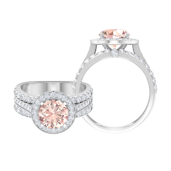 3.75 CT Vintage Engagement Ring with Created Morganite and Moissanite