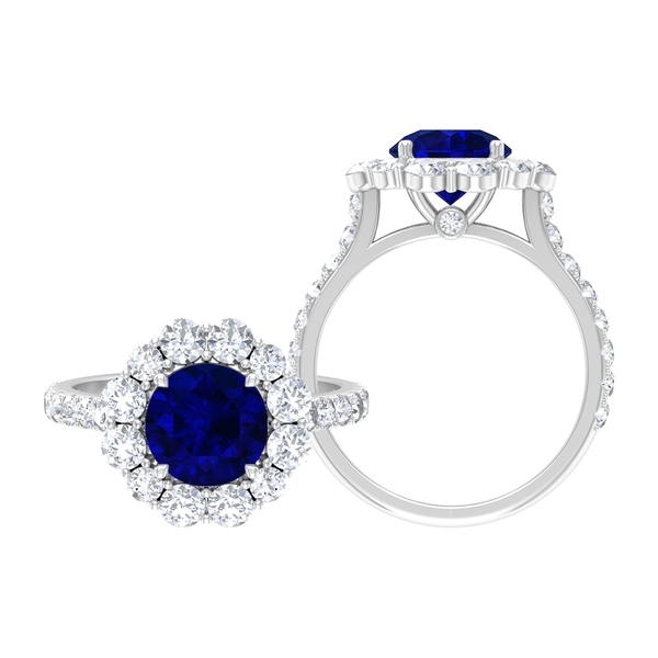 3.75 CT Classic Engagement Ring with Created Blue Sapphire and Moissanite Halo