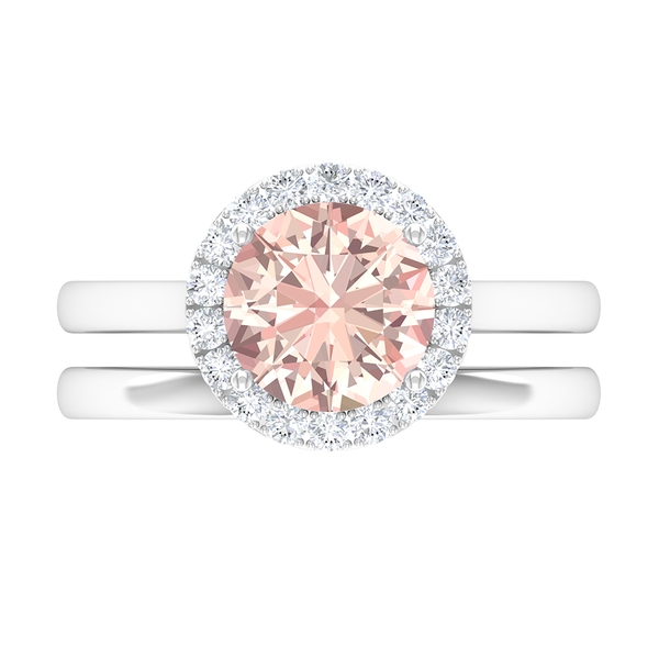 2 CT Bridal Ring Set with Created Morganite and Moissanite