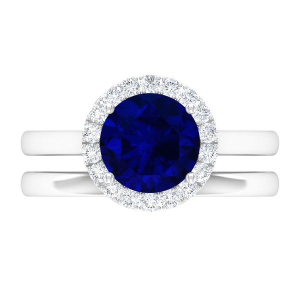 2 CT Created Blue Sapphire and Moissanite Gold Bridal Ring Set