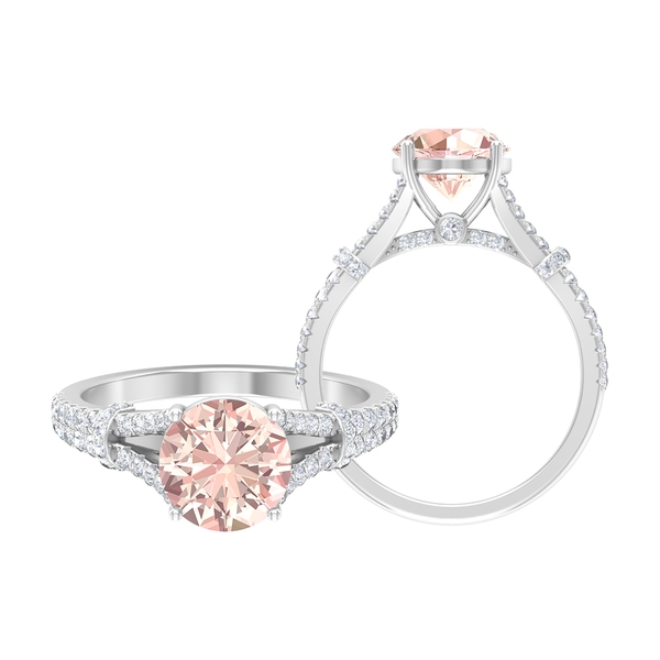 2.50 CT Solitaire Created Morganite and Moissanite Accent Split Shank Ring