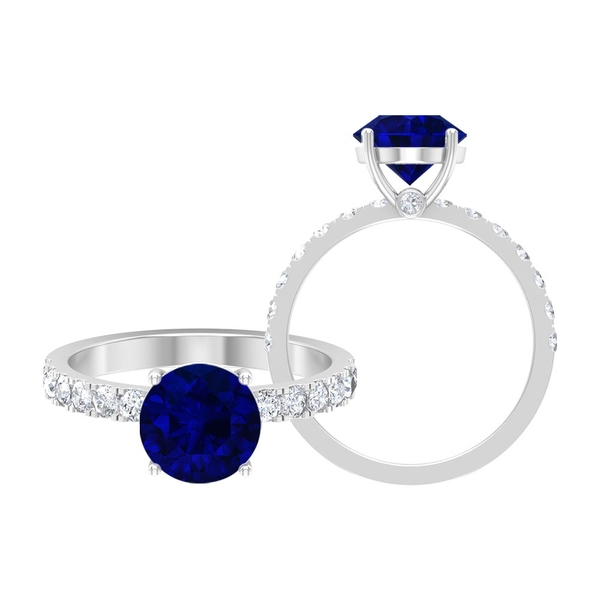 2.50 CT Created Blue Sapphire Solitaire Ring with Moissanite Side Stones