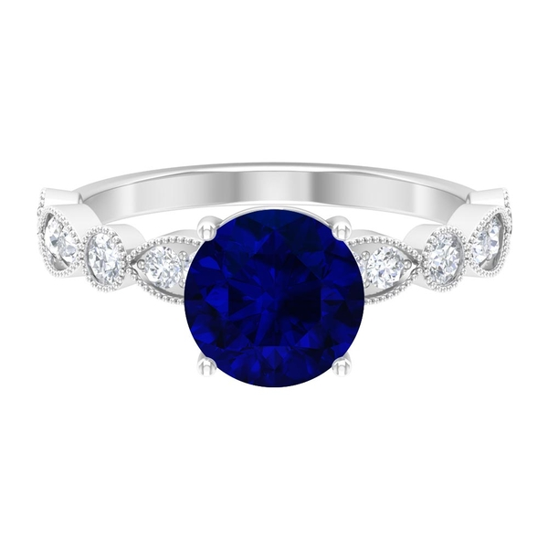 2.50 CT Milgrain Solitaire Ring with Created Blue Sapphire and Moissanite Accent
