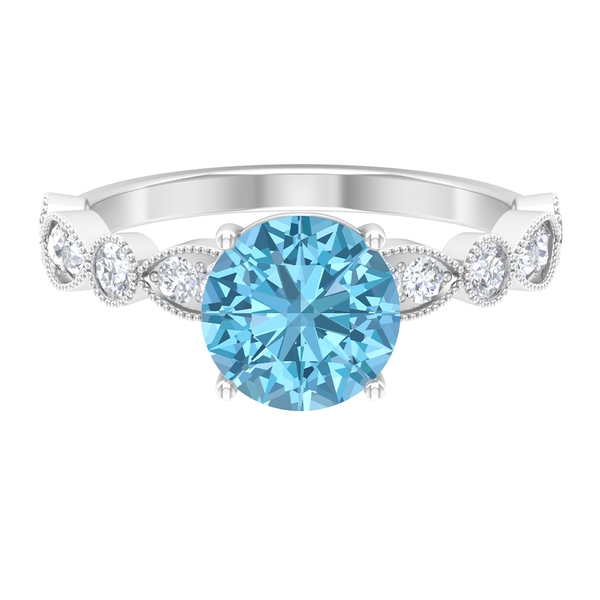 3 CT Aquamarine Solitaire Engagement Ring with Side Stones