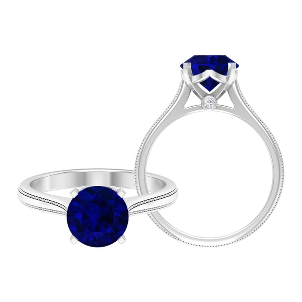 2 CT Solitaire Created Blue Sapphire and Moissanite Ring with Beaded Detail