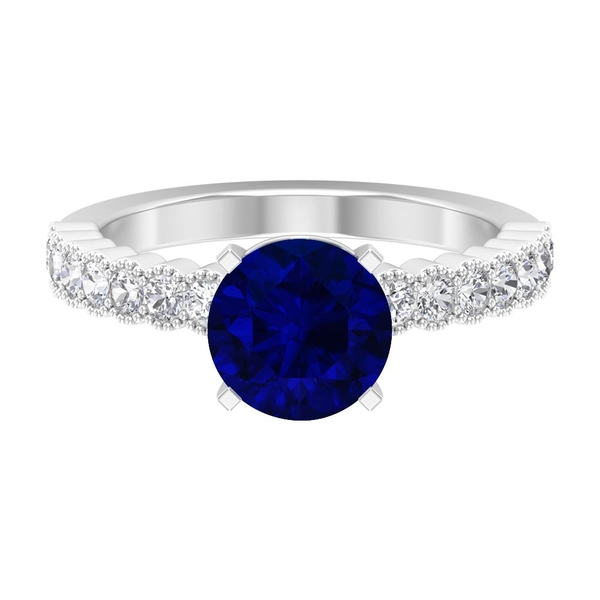 2.50 CT Vintage Engagement Ring with Solitaire Created Blue Sapphire and Moissanite Side Stones