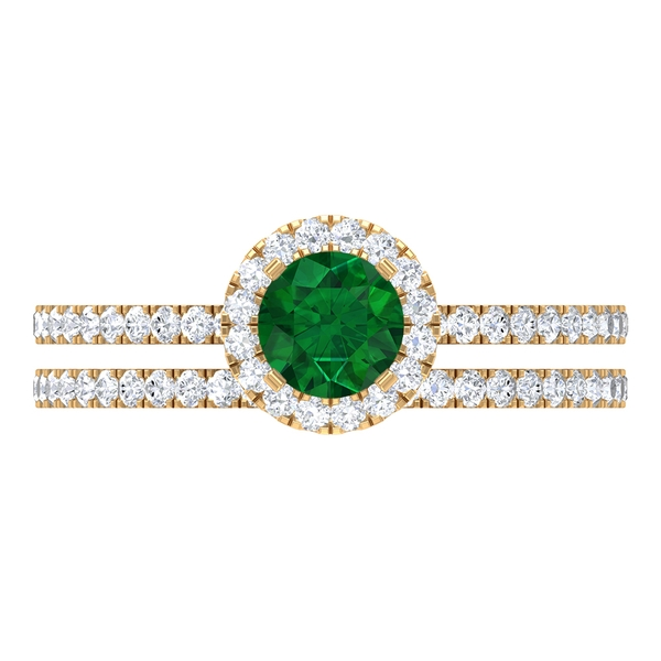 1.25 CT Bridal Ring Set with Solitaire Created Emerald and Moissanite Eternity Band