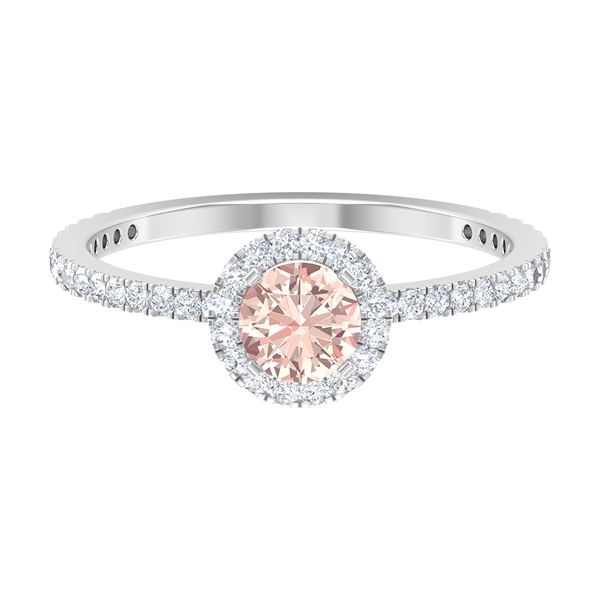 1 CT Solitaire Created Morganite Engagement Ring with Moissanite Halo and Side Stones