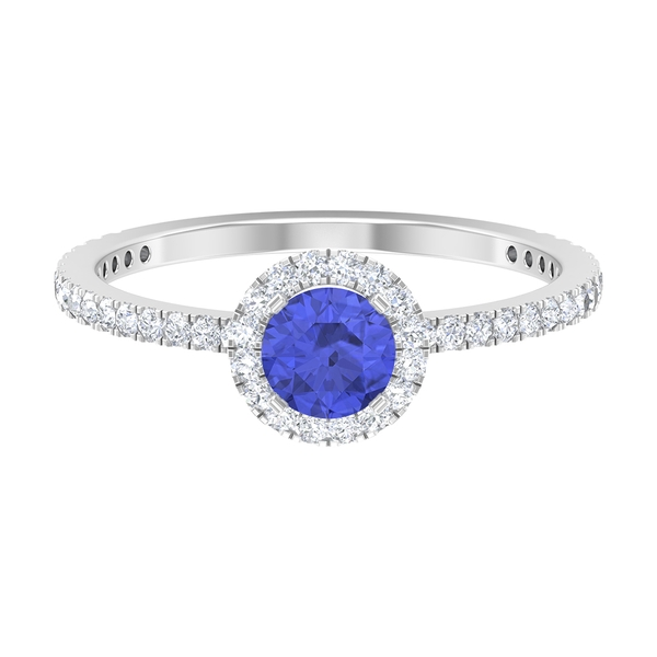 1 CT Tanzanite Solitaire Ring with Moissanite Halo