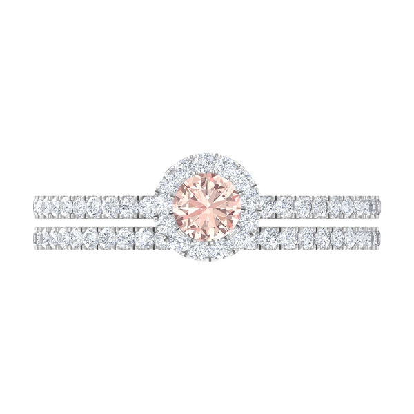 Bridal Ring Set with 1 CT Created Morganite and Moissanite