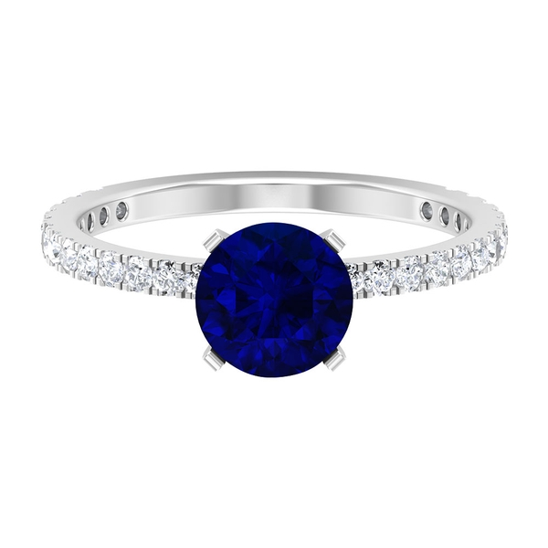 1.75 CT Created Blue Sapphire Engagement Ring with Diamond Side Stones