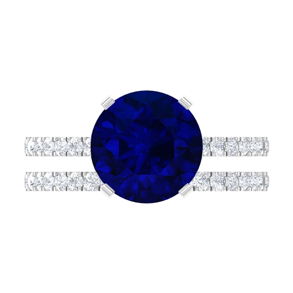 4.25 CT Created Blue Sapphire Bridal Ring Set with Moissanite Band