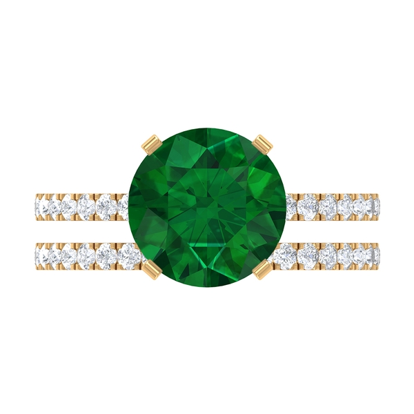 4.25 CT Created Emerald Solitaire Bridal Ring Set with Moissanite Band