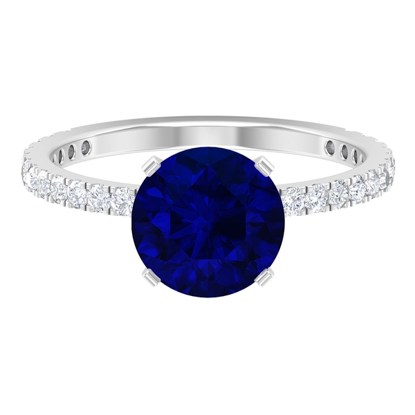 2.75 CT Created Blue Sapphire Solitaire Ring with Moissanite Side Stones