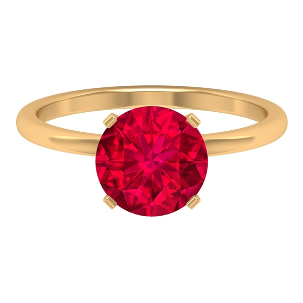 2.50 CT Solitaire Ring with Created Ruby