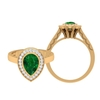 2.25 CT Emerald Solitaire and Moissanite Halo Teardrop Engagement Ring