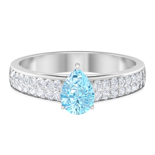 Teardrop Engagement Ring with 1.25 CT Aquamarine Solitaire and Moissanite Accent