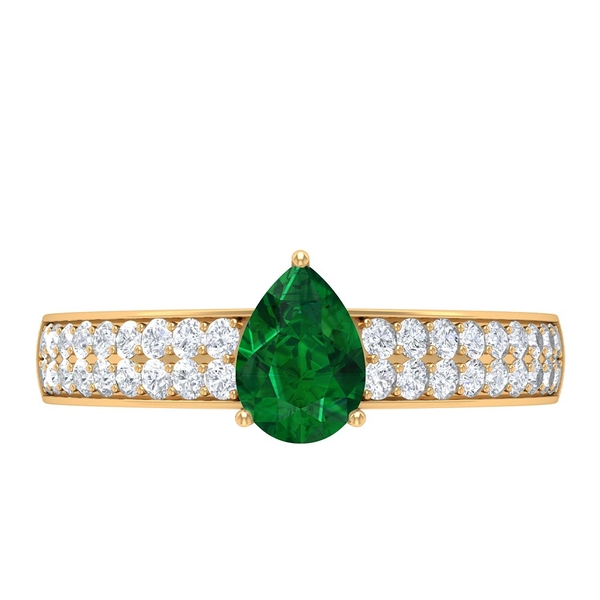 Teardrop Engagement Ring with 1.50 CT Emerald Solitaire and Moissanite Accent