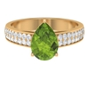 Teardrop Engagement Ring with 2.50 CT Peridot Solitaire and Moissanite Accent