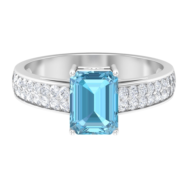 Octagon Engagement Ring with 2.25 CT Aquamarine Solitaire and Moissanite Accent