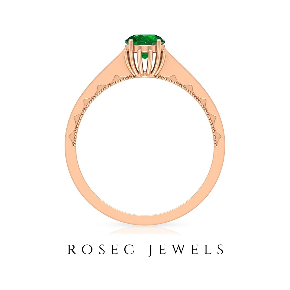 May Birthstone 5 MM Emerald Solitaire Ring with Milgrain Detailing