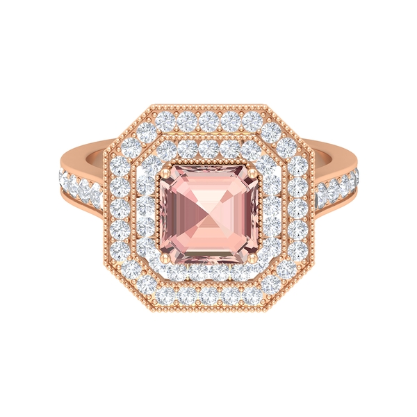 4 CT Created Morganite Double Halo Ring with Moissanite
