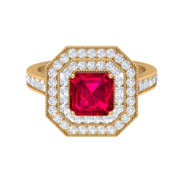 4 CT Created Ruby Double Halo Ring with Moissanite