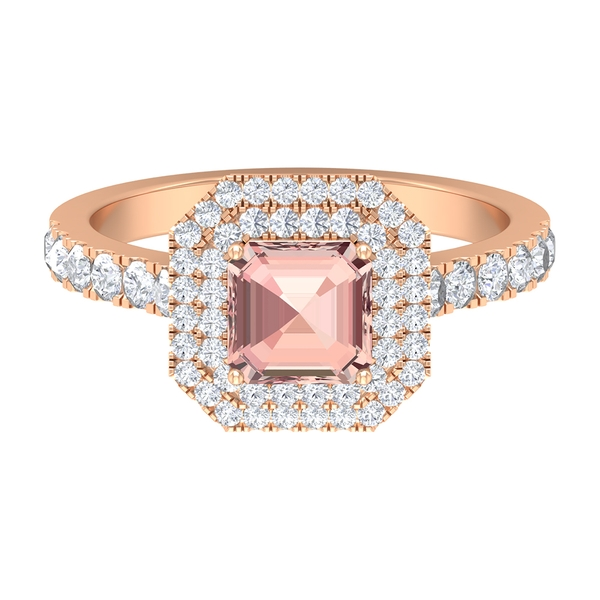 3.75 CT Created Morganite Double Halo Ring with Moissanite