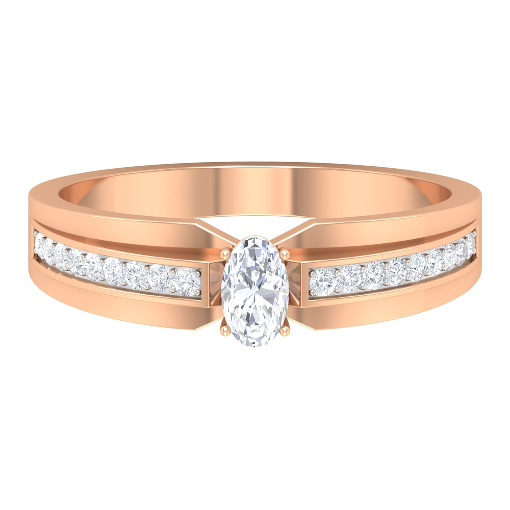 3X5 MM Oval Cut Diamond Solitaire Engagement Ring with Side Stones in Prong Set