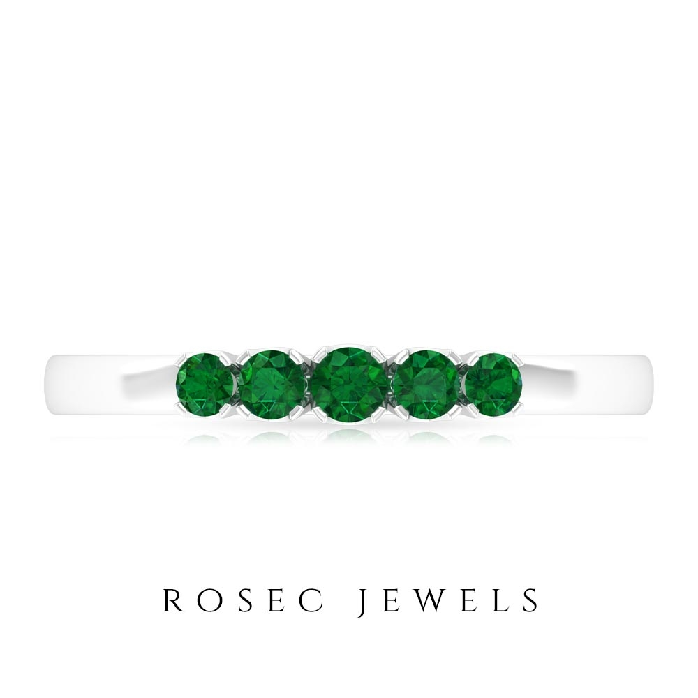 May Birthstone 1/4 CT Emerald Five Stone Ring