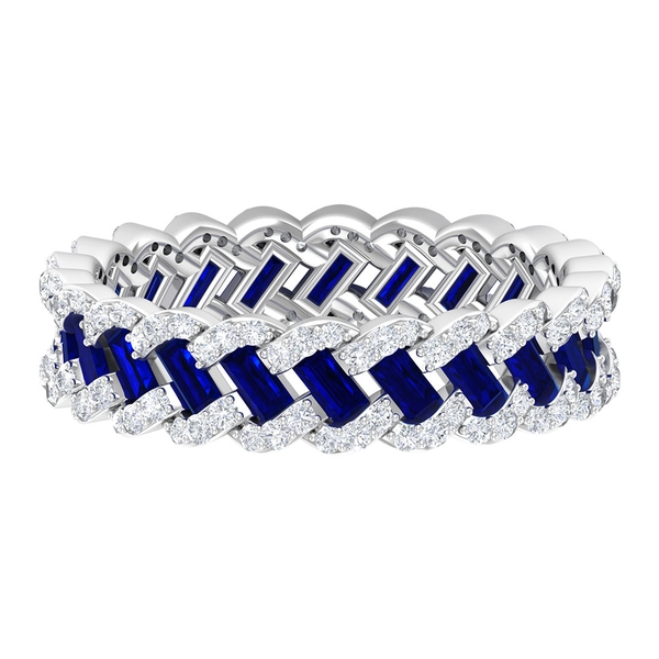 2.25 CT Created Blue Sapphire and Diamond Braided Eternity Wedding Band Ring