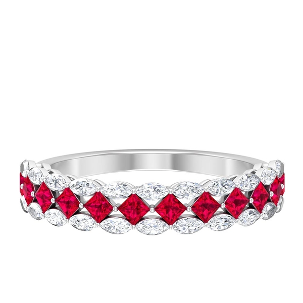 1 CT Created Ruby and Diamond Unique Half Eternity Wedding Band Ring