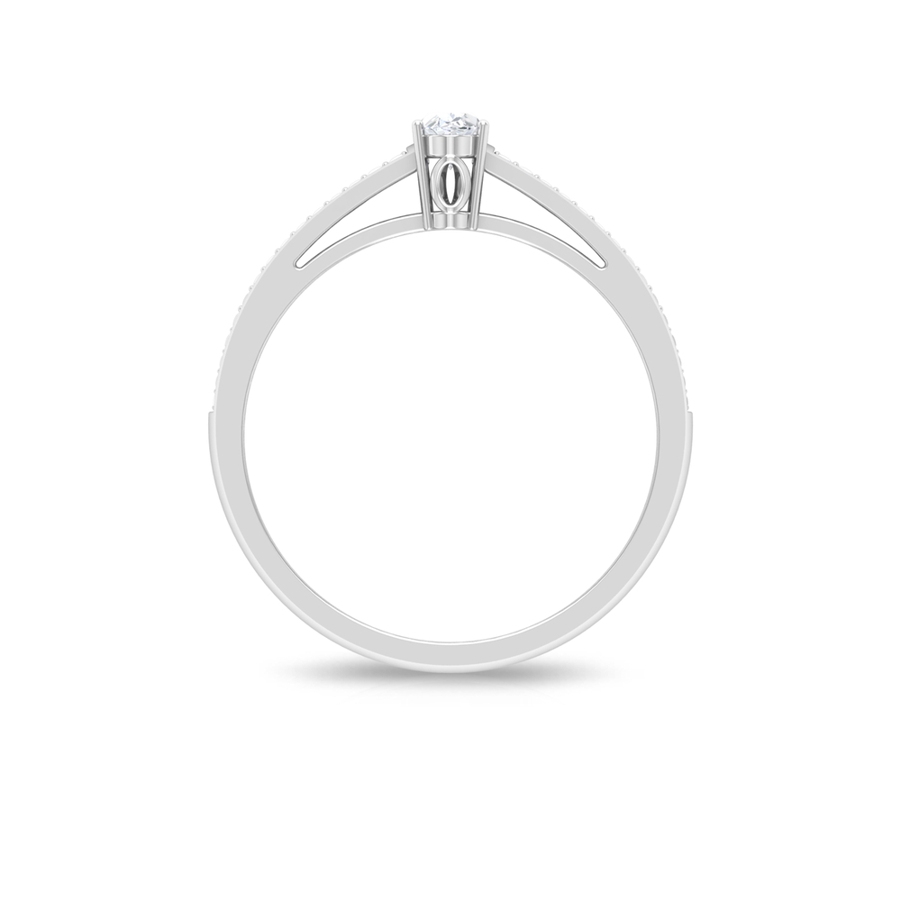 3X5 MM Oval Cut Diamond Engagement Ring in Prong Set with Side Stones in Pave Set