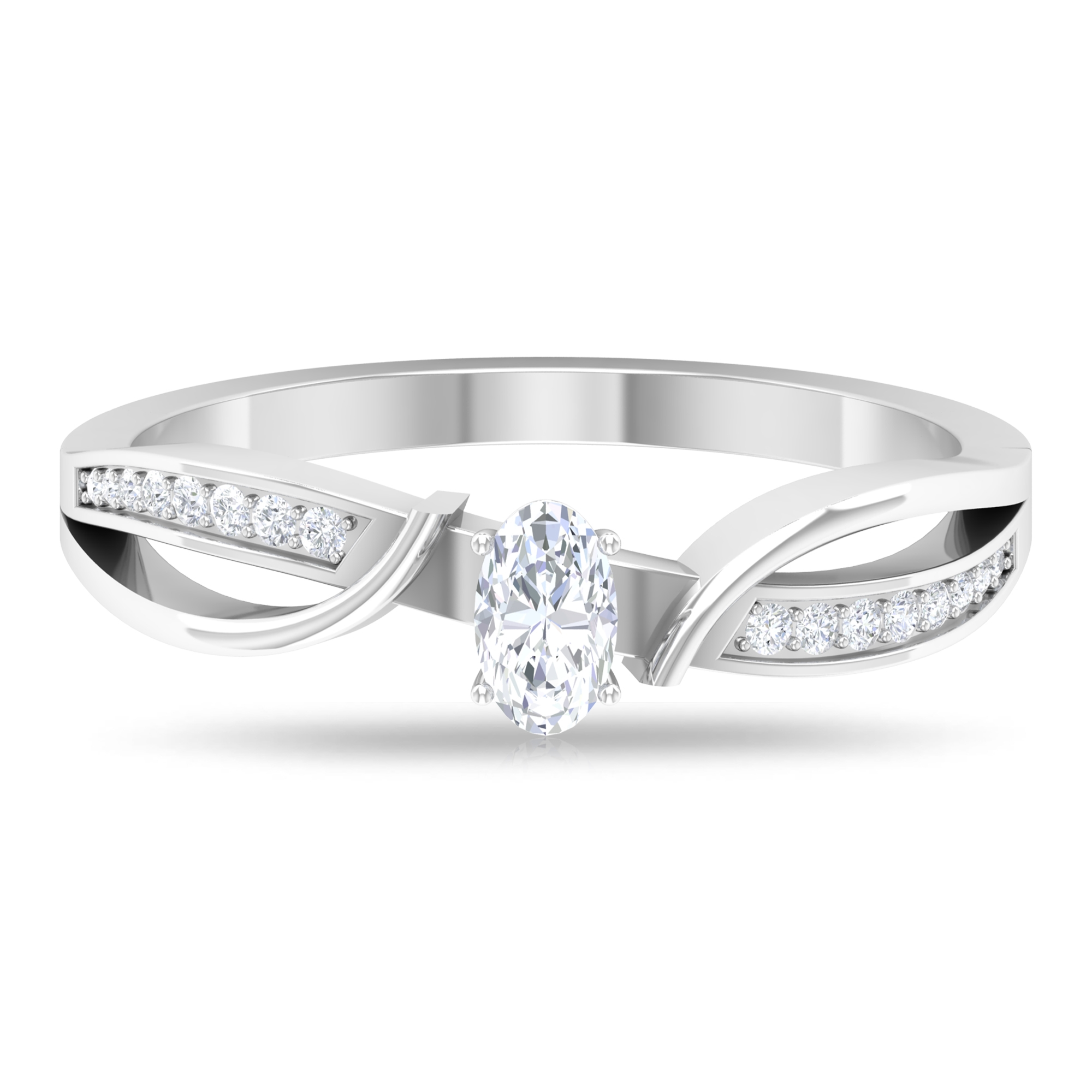 1/2 CT Oval Cut Diamond Solitaire Crossover Anniversary Ring in Prong Set