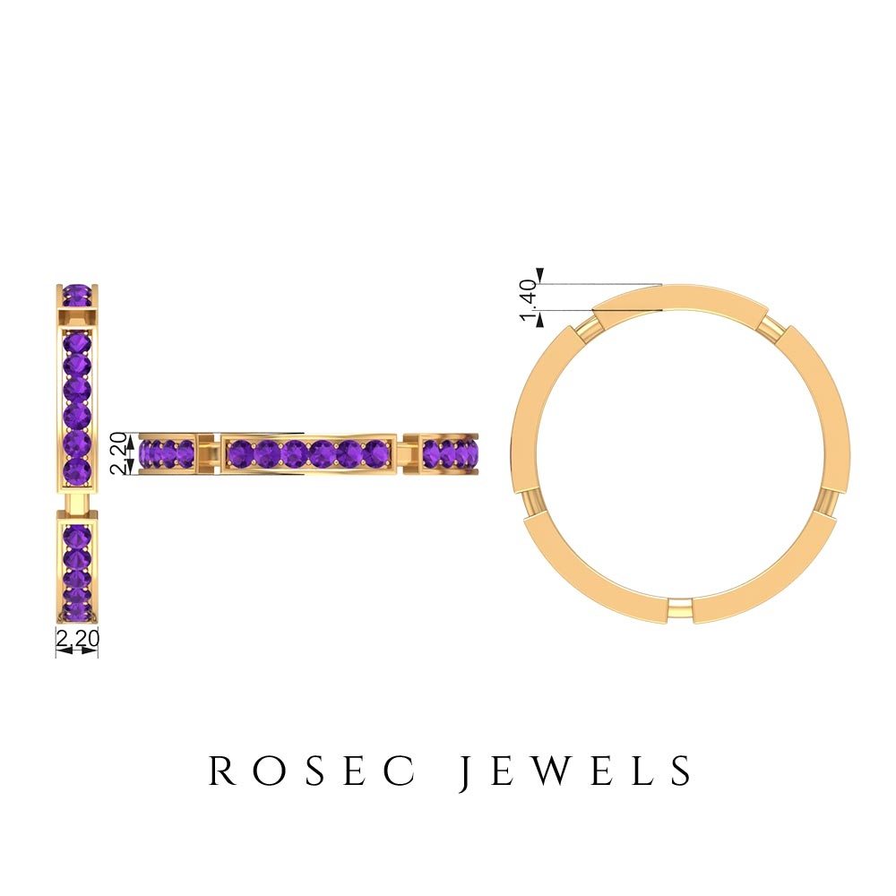 1/2 CT February Birthstone Amethyst Stackable Band Ring