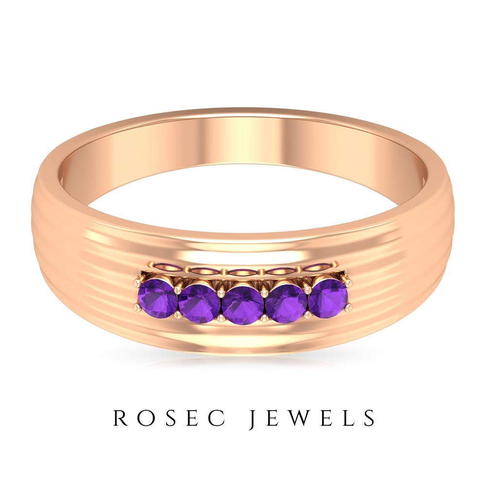 1/4 CT Amethyst Five Stone Band Ring