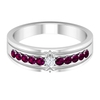 1/2 CT Solitaire Diamond and Rhodolite Wedding Band Ring