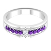 Anniversary Band Ring with 1/4 CT Diamond and Amethyst Side Stones