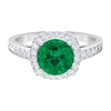 2.75 CT Green Tourmaline Solitaire and Diamond Accent Engagement Ring