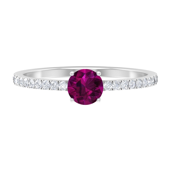 3/4 CT Rhodolite Promise Ring with Diamond Accents